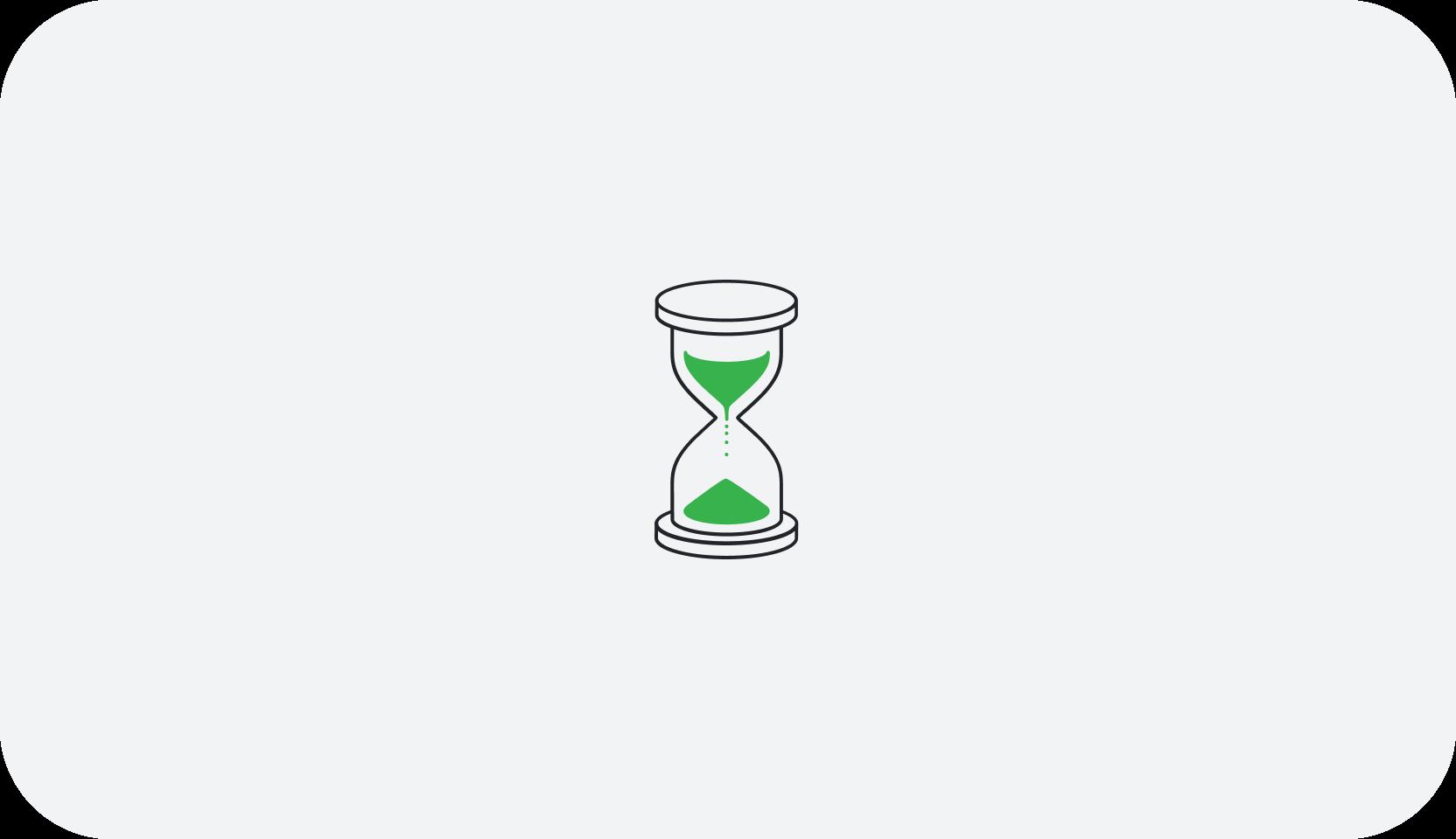 Den Grønne Rejse's logo, et timeglas